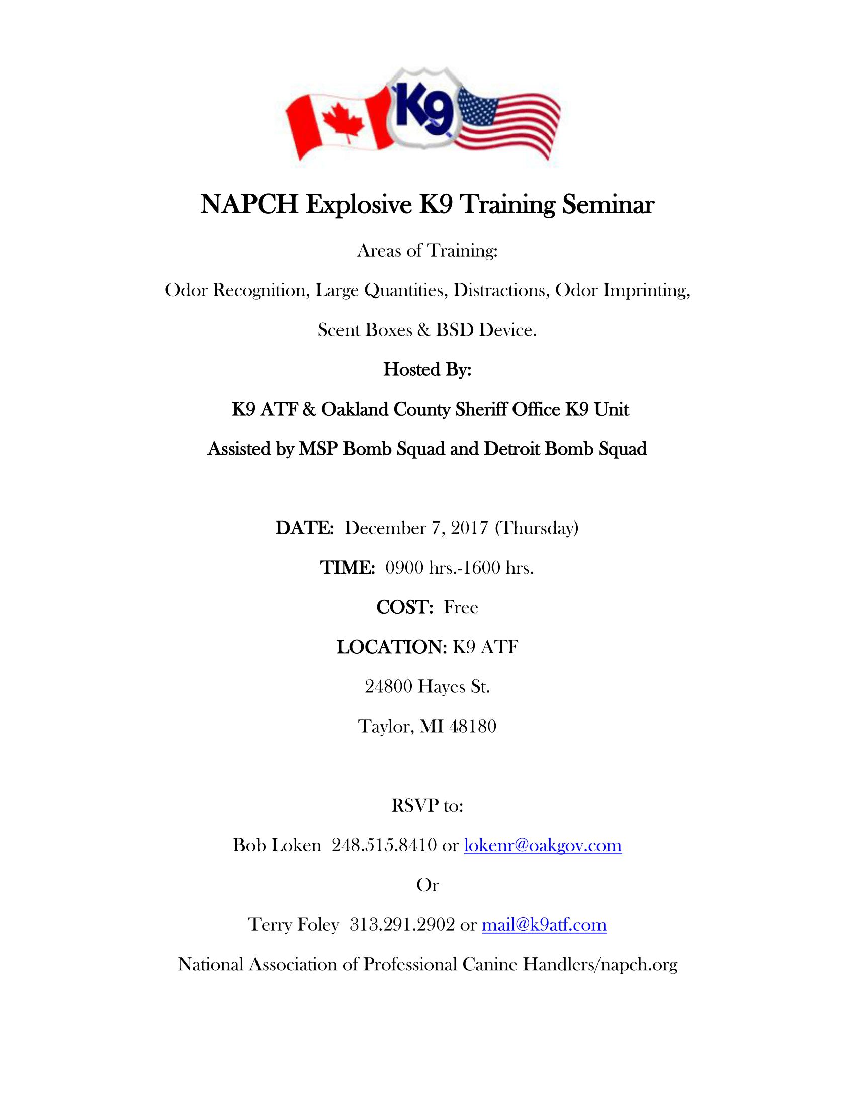 Explosive K9 Training Seminar 2017 Flyer